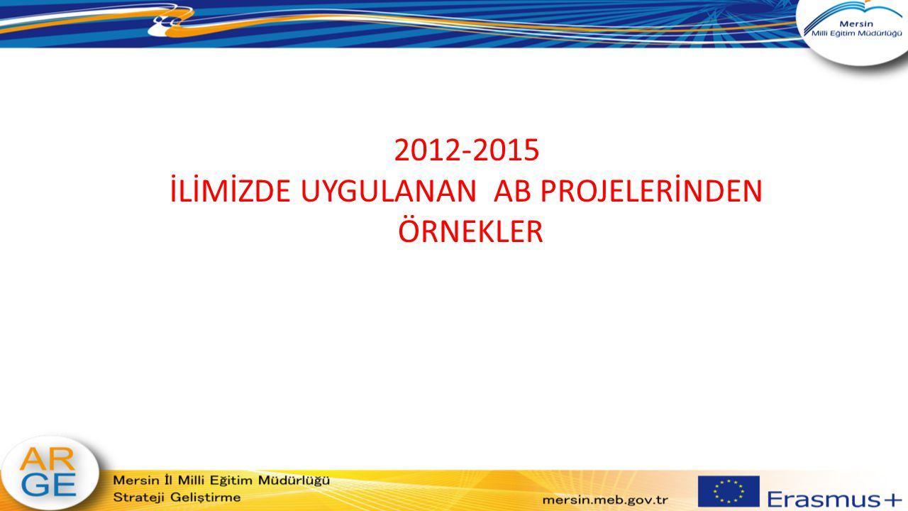 Pediatry Practices in EU Dimension and Training of Nurses in Europe ( AB Boyutunda Pediatri Uygulamaları ve Hemşirelerin Avrupa´da Stajı ) Koordinatör Ülke: Türkiye Koordinatör Okul: Mersin İl Milli Eğitim Müdürlüğü Proje adı: AB Boyutunda Pediatri Uygulamaları ve Hemşirelerin Avrupa´da Stajı Ortaklar: İspanya, Türkiye Hibe: 75.000 Euro Hareketlilik: 32+5 Süre: 2013-2014 Amaç: Mersin İl Milli Eğitim Müdürlüğü tarafından hazırlanıp koordine edilen AB Boyutunda Pediatri Uygulamaları ve Hemşirelerin Avrupa´da Stajı adlı Erasmus+ LDV projesi son buldu.