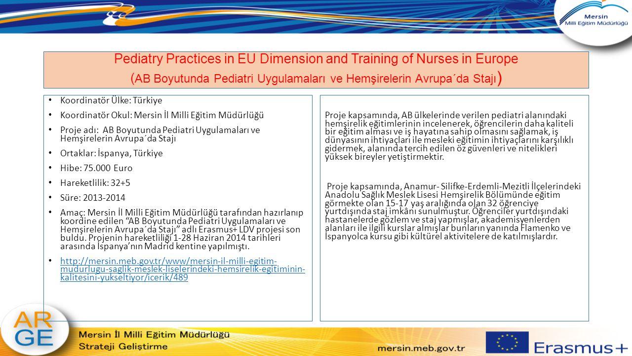 Pediatry Practices in EU Dimension and Training of Nurses in Europe ( AB Boyutunda Pediatri Uygulamaları ve Hemşirelerin Avrupa´da Stajı ) Koordinatör