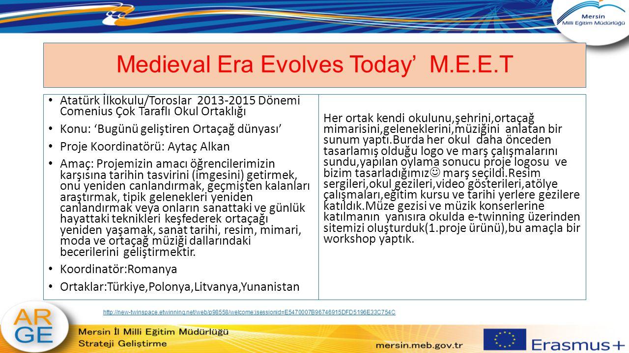 Medieval Era Evolves Today' M.E.E.T Atatürk İlkokulu/Toroslar 2013-2015 Dönemi Comenius Çok Taraflı Okul Ortaklığı Konu: 'Bugünü geliştiren Ortaçağ dü