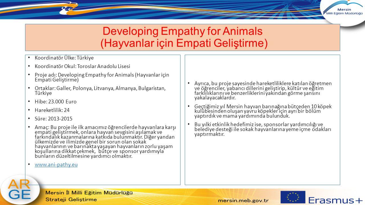 Developing Empathy for Animals (Hayvanlar için Empati Geliştirme) Koordinatör Ülke: Türkiye Koordinatör Okul: Toroslar Anadolu Lisesi Proje adı: Devel