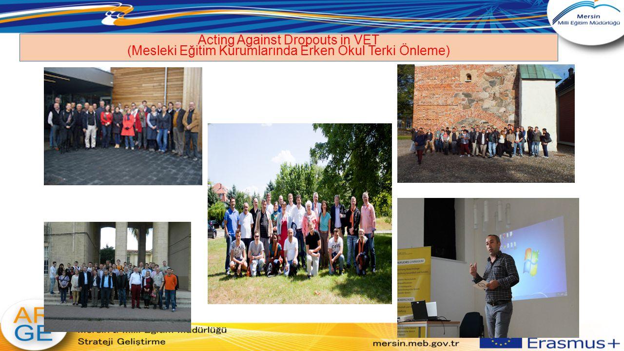 Social Entrepreneurship – acting social in local economy Koordinatör Ülke: Romanya Koordinatör Okul: Akdeniz İlçe Milli Eğitim Müdürlüğü Proje adı: Social Entrepreneurship- acting social in local economy (Sosyal Girişimcilik- Yerel Ekonomide Girişimcilik Ortaklar: Romania, Estonia, Italy and Turkey Hibe: 16.000 Euro Hareketlilik: 12 Süre: 2013-2015 projemiz, Sivil Toplum Kuruluşları ile işbirliğini ve sosyal girişimciliği yerelde hareketlendirmeyi amaçlamaktadır.