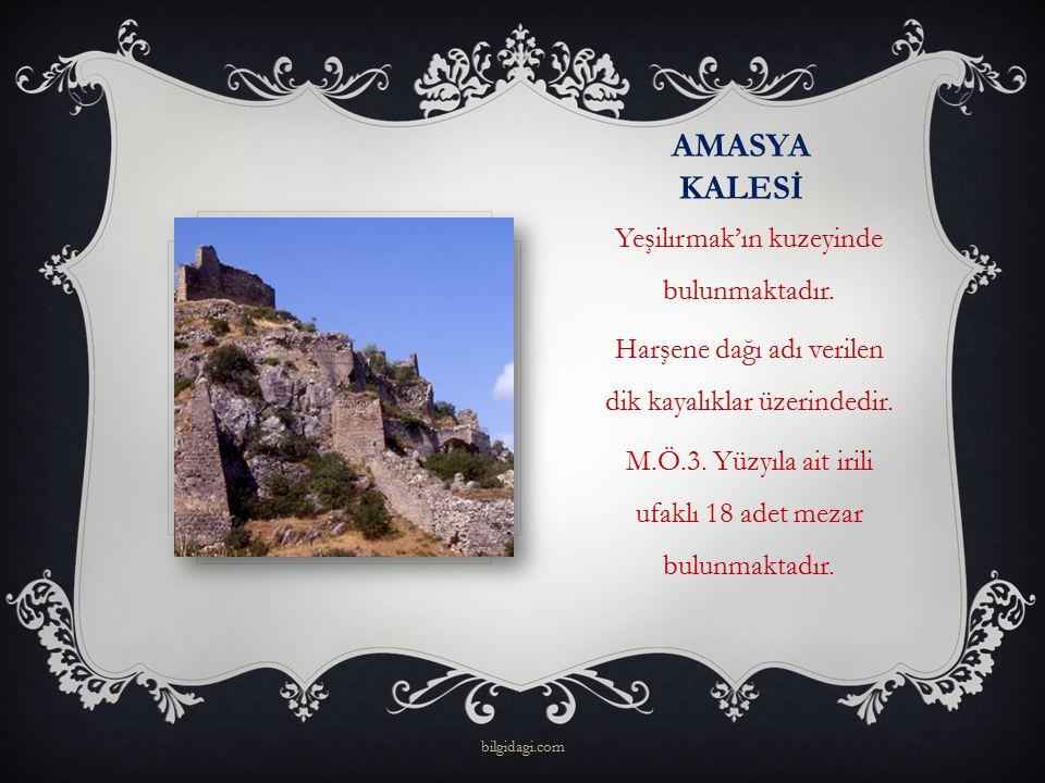 AMASYA KALESİ Yeşilırmak'ın kuzeyinde bulunmaktadır. Harşene dağı adı verilen dik kayalıklar üzerindedir. M.Ö.3. Yüzyıla ait irili ufaklı 18 adet meza