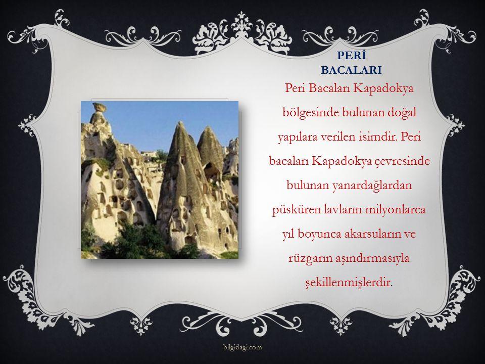 PERİ BACALARI Peri Bacaları Kapadokya bölgesinde bulunan doğal yapılara verilen isimdir. Peri bacaları Kapadokya çevresinde bulunan yanardağlardan püs
