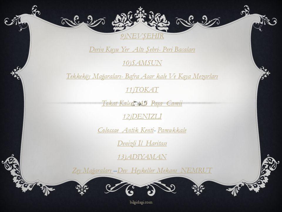 14)İZMİR Efes Artemis TapınağıEfes Artemis Tapınağı-Kemer Altı CamiiKemer Altı Camii 15)BURSA Ulu Camii- Yeşil Türbe 16) TRABZON Meryem Ana ( Sümela) Manastırı Meryem Ana ( Sümela) Manastırı –Kaymaklı ManastırKaymaklı Manastır 17)ERZURUM Erzurum Kalesi- Tepsi Minare(Saat Kulesi) bilgidagi.com