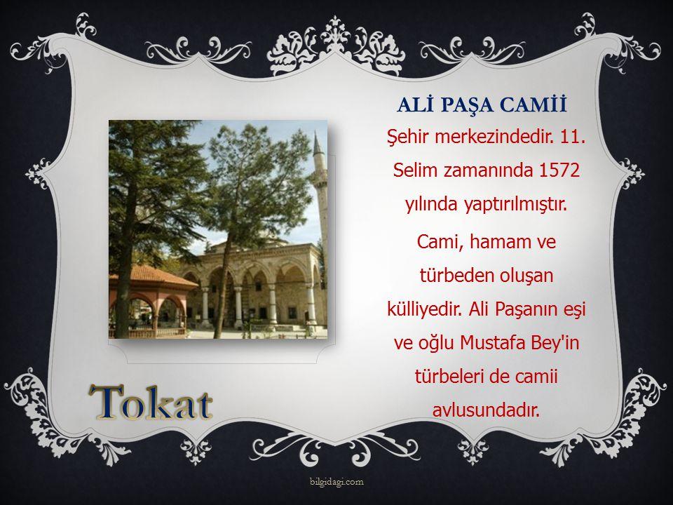 ALİ PAŞA CAMİİ Şehir merkezindedir. 11. Selim zamanında 1572 yılında yaptırılmıştır. Cami, hamam ve türbeden oluşan külliyedir. Ali Paşanın eşi ve oğl