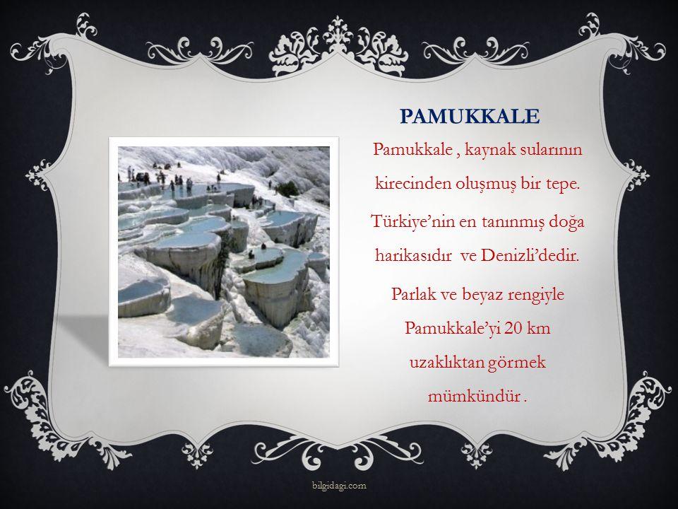 PAMUKKALE Pamukkale, kaynak sularının kirecinden oluşmuş bir tepe. Türkiye'nin en tanınmış doğa harikasıdır ve Denizli'dedir. Parlak ve beyaz rengiyle