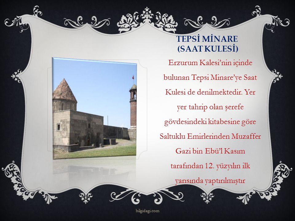 TEPSİ MİNARE (SAAT KULESİ) Erzurum Kalesi'nin içinde bulunan Tepsi Minare'ye Saat Kulesi de denilmektedir. Yer yer tahrip olan şerefe gövdesindeki kit