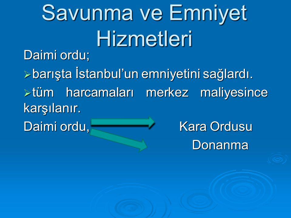 Savunma ve Emniyet Hizmetleri Daimi ordu;  barışta İstanbul'un emniyetini sağlardı.  tüm harcamaları merkez maliyesince karşılanır. Daimi ordu, Kara