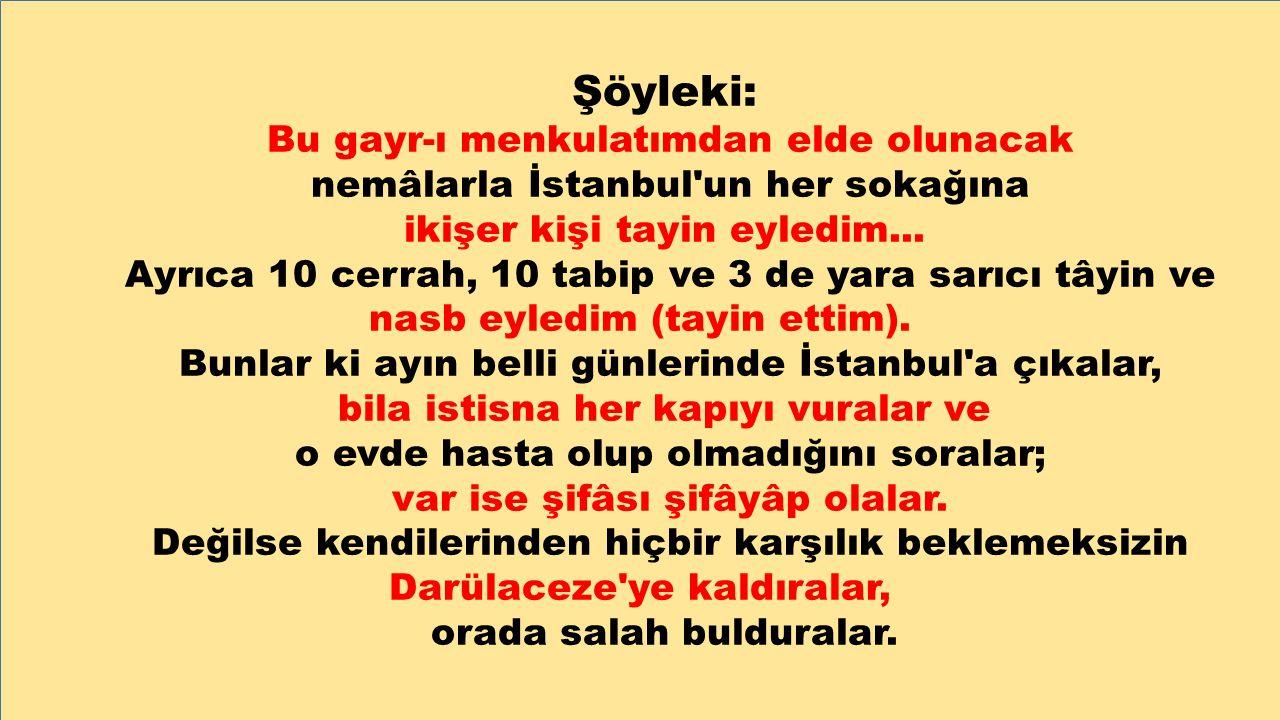 Şöyleki: Bu gayr-ı menkulatımdan elde olunacak nemâlarla İstanbul'un her sokağına ikişer kişi tayin eyledim... Ayrıca 10 cerrah, 10 tabip ve 3 de yara