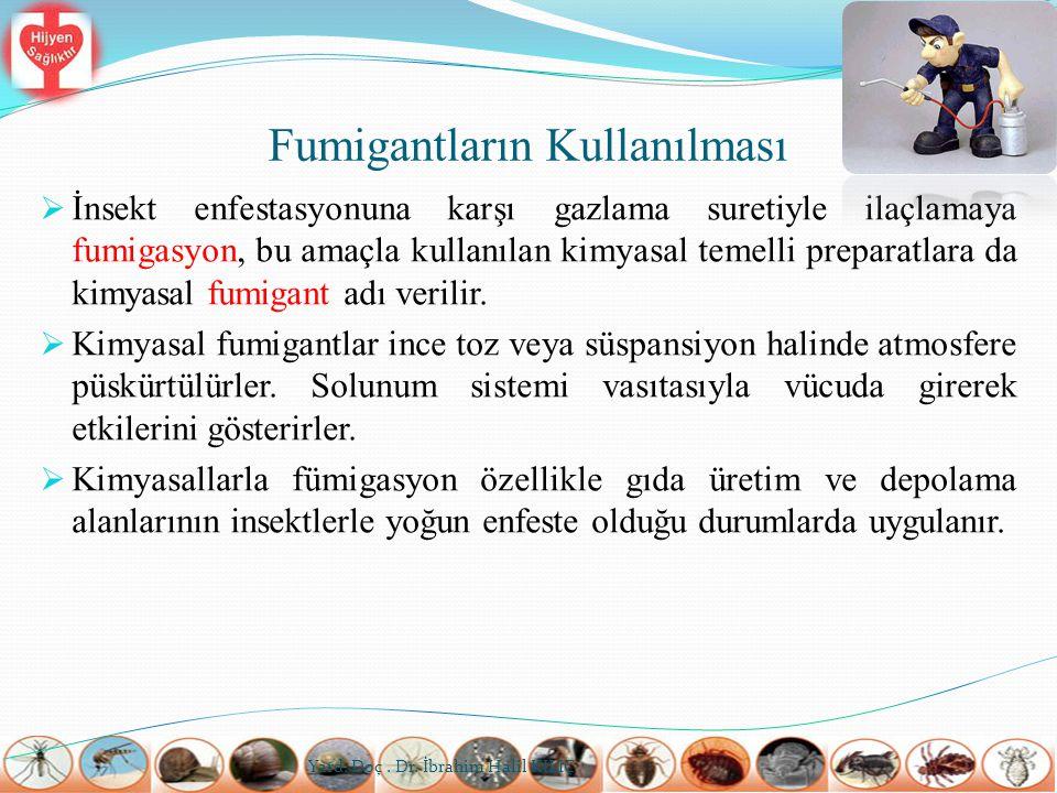 Fumigantların Kullanılması  İnsekt enfestasyonuna karşı gazlama suretiyle ilaçlamaya fumigasyon, bu amaçla kullanılan kimyasal temelli preparatlara d