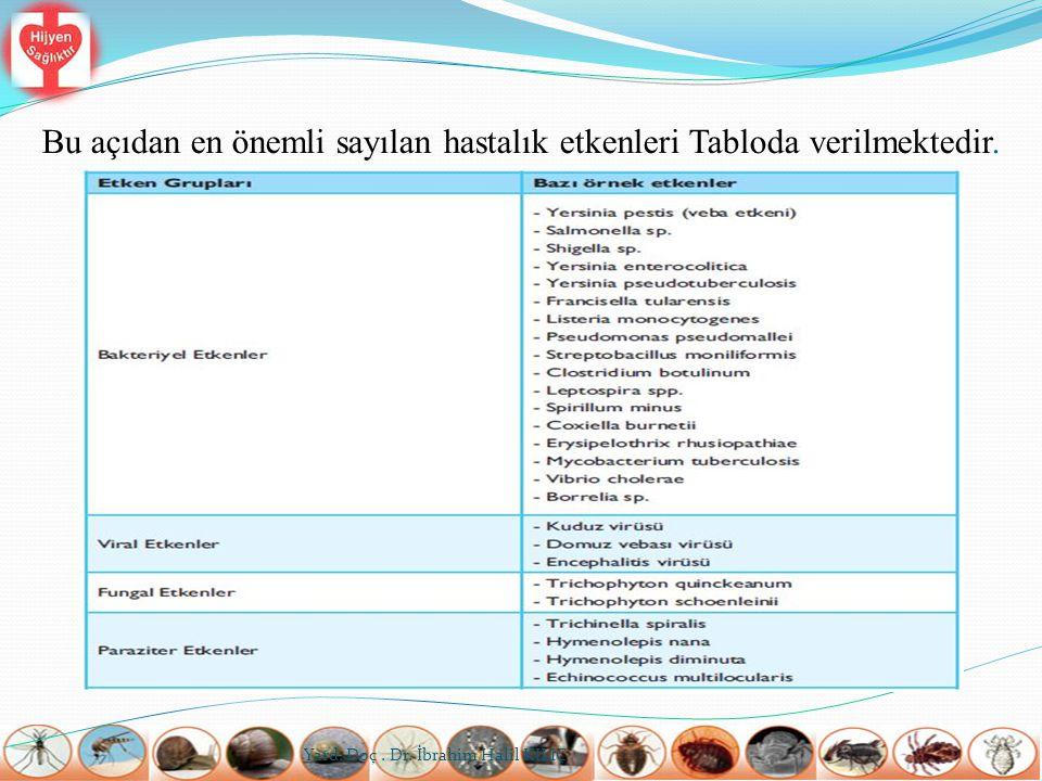 Bu açıdan en önemli sayılan hastalık etkenleri Tabloda verilmektedir. Yard. Doç. Dr. İbrahim Halil KILIÇ
