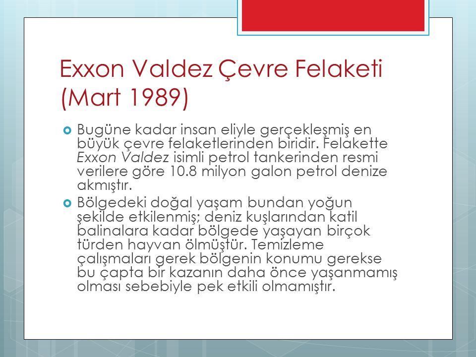 Exxon Valdez Çevre Felaketi (Mart 1989)  Bugüne kadar insan eliyle gerçekleşmiş en büyük çevre felaketlerinden biridir. Felakette Exxon Valdez isimli