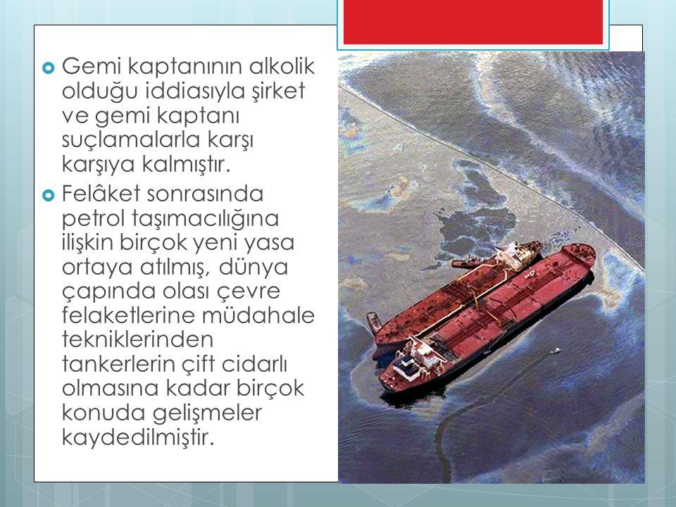  Gemi kaptanının alkolik olduğu iddiasıyla şirket ve gemi kaptanı suçlamalarla karşı karşıya kalmıştır.  Felâket sonrasında petrol taşımacılığına il