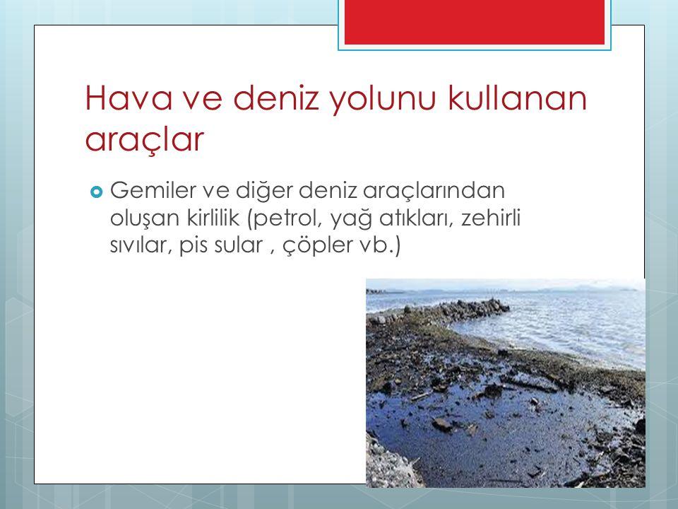 Hava ve deniz yolunu kullanan araçlar  Gemiler ve diğer deniz araçlarından oluşan kirlilik (petrol, yağ atıkları, zehirli sıvılar, pis sular, çöpler