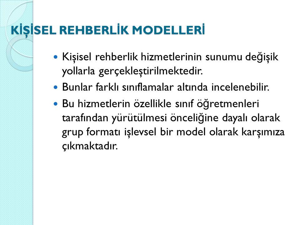 K İ Ş İ SEL REHBERL İ K MODELLER İ Kişisel rehberlik hizmetlerinin sunumu de ğ işik yollarla gerçekleştirilmektedir. Bunlar farklı sınıflamalar altınd