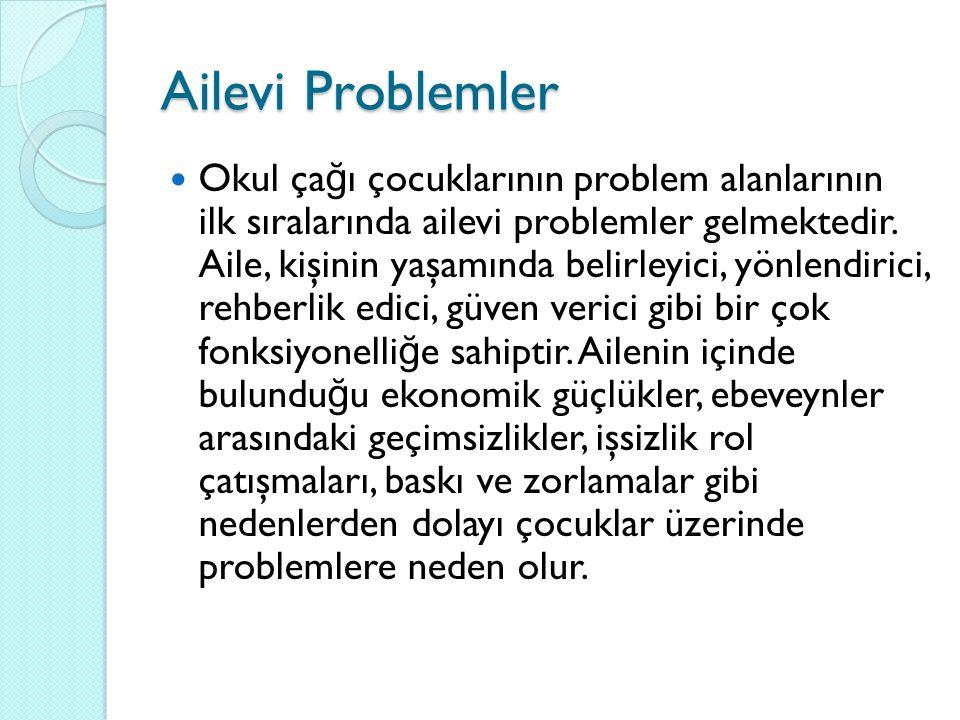 Ailevi Problemler Okul ça ğ ı çocuklarının problem alanlarının ilk sıralarında ailevi problemler gelmektedir. Aile, kişinin yaşamında belirleyici, yön