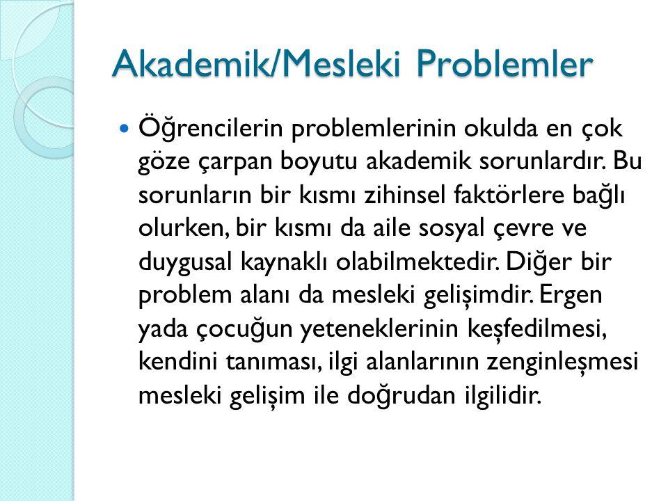 Akademik/Mesleki Problemler Ö ğ rencilerin problemlerinin okulda en çok göze çarpan boyutu akademik sorunlardır. Bu sorunların bir kısmı zihinsel fakt