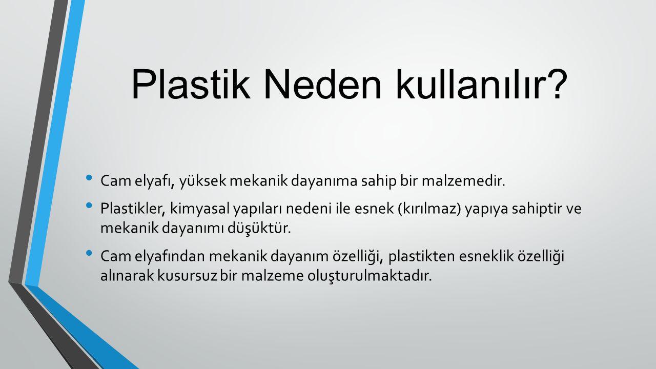 Plastik Neden kullanılır? Cam elyafı, yüksek mekanik dayanıma sahip bir malzemedir. Plastikler, kimyasal yapıları nedeni ile esnek (kırılmaz) yapıya s