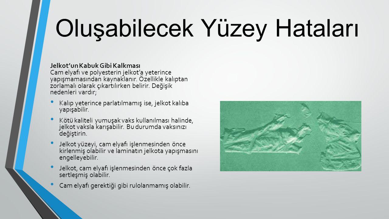 Oluşabilecek Yüzey Hataları Jelkot'un Kabuk Gibi Kalkması Cam elyafı ve polyesterin jelkot'a yeterince yapışmamasından kaynaklanır. Özellikle kalıptan