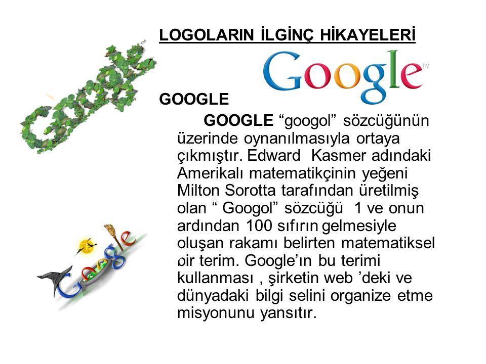 """LOGOLARIN İLGİNÇ HİKAYELERİ GOOGLE GOOGLE """"googol"""" sözcüğünün üzerinde oynanılmasıyla ortaya çıkmıştır. Edward Kasmer adındaki Amerikalı matematikçini"""