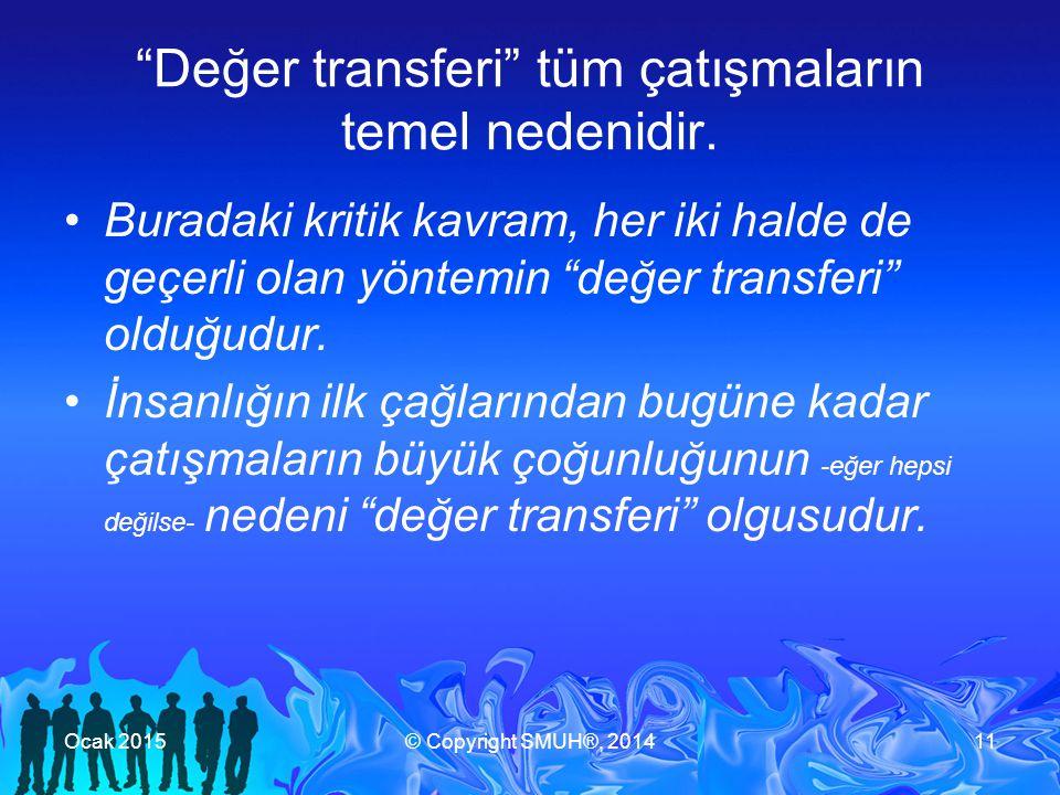 Değer transferi tüm çatışmaların temel nedenidir.