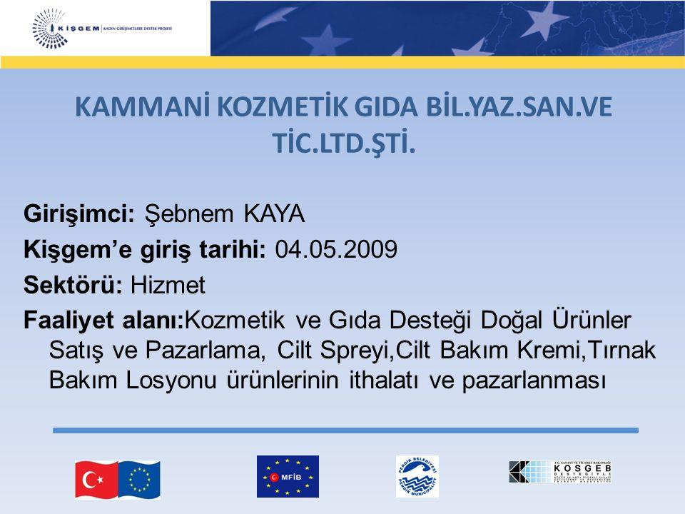 Girişimci: Şebnem KAYA Kişgem'e giriş tarihi: 04.05.2009 Sektörü: Hizmet Faaliyet alanı:Kozmetik ve Gıda Desteği Doğal Ürünler Satış ve Pazarlama, Cil