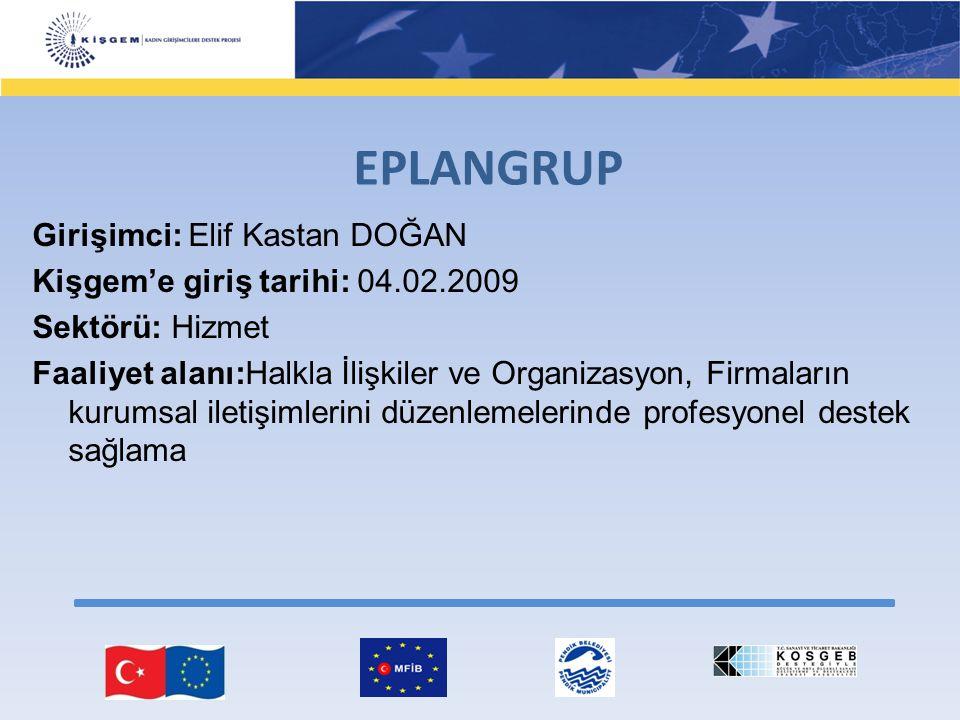 Girişimci: Elif Kastan DOĞAN Kişgem'e giriş tarihi: 04.02.2009 Sektörü: Hizmet Faaliyet alanı:Halkla İlişkiler ve Organizasyon, Firmaların kurumsal il