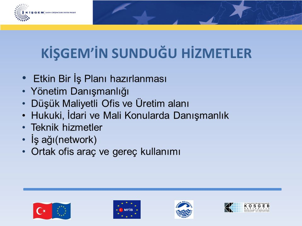 KİŞGEM'İN SUNDUĞU HİZMETLER Etkin Bir İş Planı hazırlanması Yönetim Danışmanlığı Düşük Maliyetli Ofis ve Üretim alanı Hukuki, İdari ve Mali Konularda