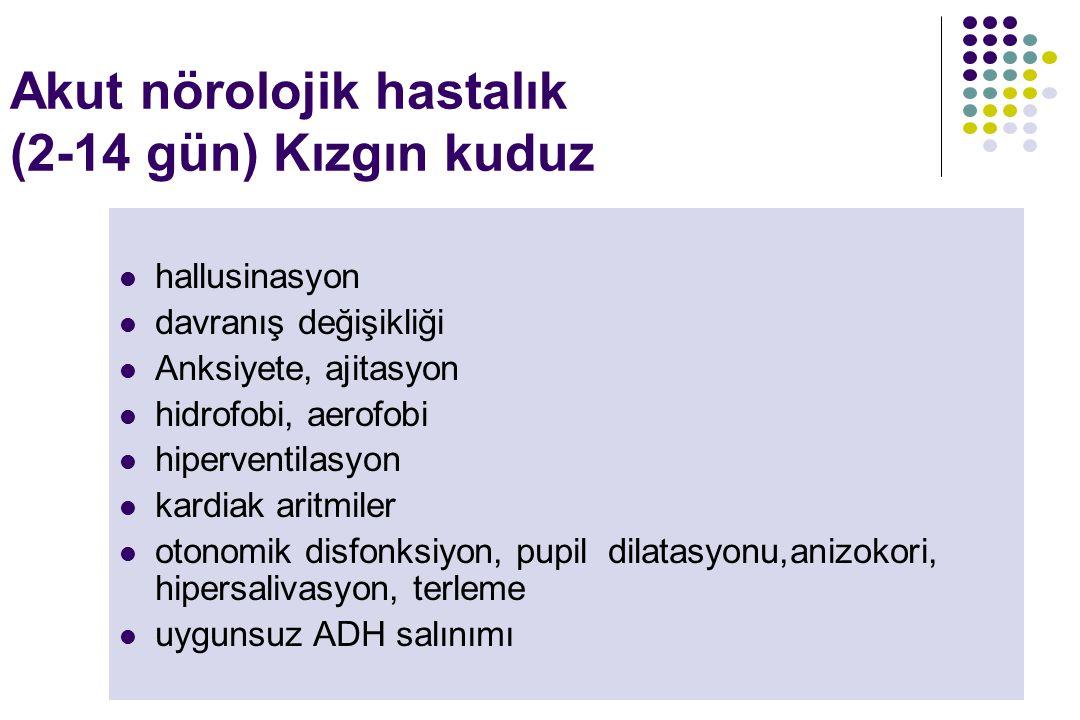 Akut nörolojik hastalık (2-14 gün) Kızgın kuduz hallusinasyon davranış değişikliği Anksiyete, ajitasyon hidrofobi, aerofobi hiperventilasyon kardiak a