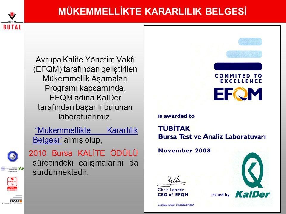 MÜKEMMELLİKTE KARARLILIK BELGESİ Avrupa Kalite Yönetim Vakfı (EFQM) tarafından geliştirilen Mükemmellik Aşamaları Programı kapsamında, EFQM adına KalD