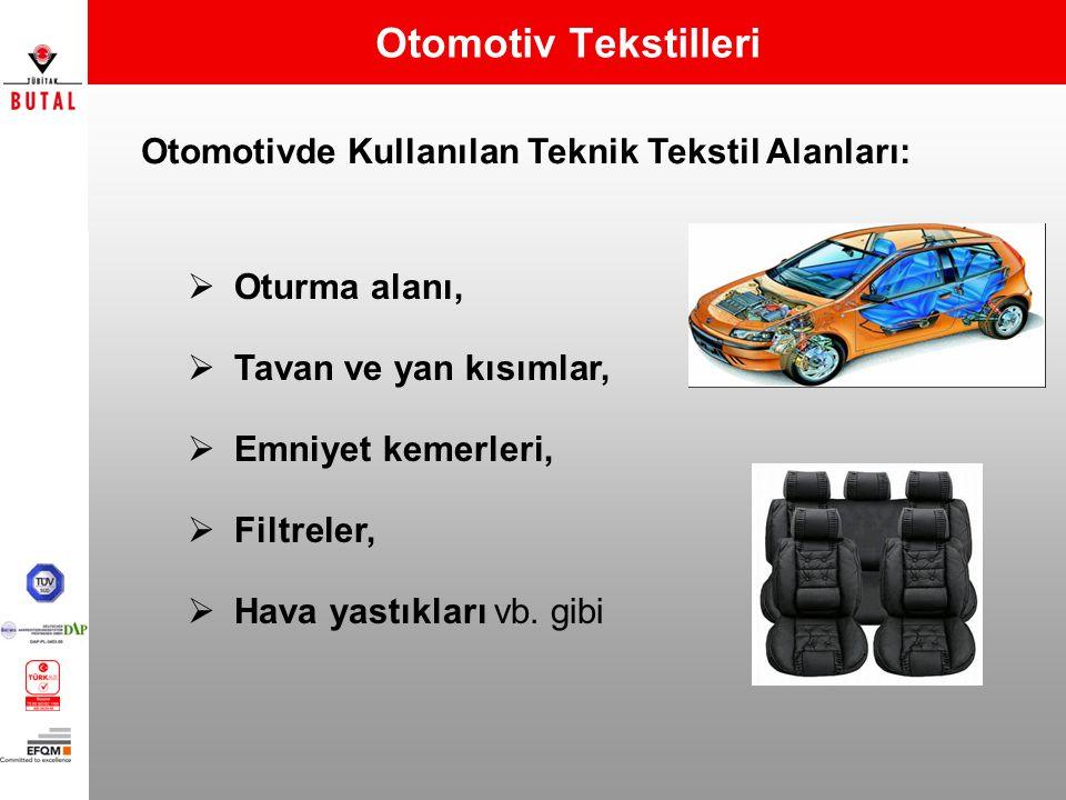 Otomotiv Tekstilleri Otomotivde Kullanılan Teknik Tekstil Alanları:  Oturma alanı,  Tavan ve yan kısımlar,  Emniyet kemerleri,  Filtreler,  Hava