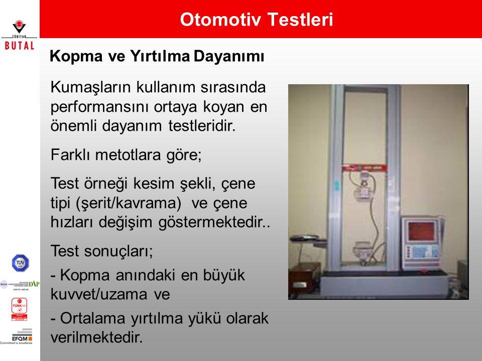 Kopma ve Yırtılma Dayanımı Otomotiv Testleri Kumaşların kullanım sırasında performansını ortaya koyan en önemli dayanım testleridir. Farklı metotlara