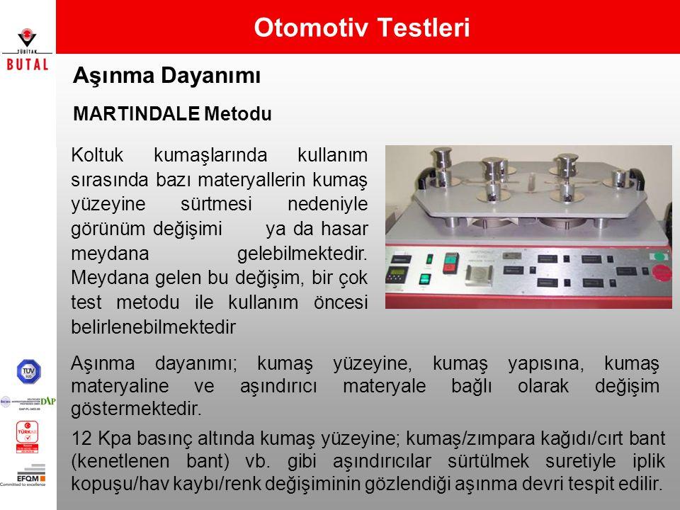 Otomotiv Testleri Aşınma Dayanımı MARTINDALE Metodu 12 Kpa basınç altında kumaş yüzeyine; kumaş/zımpara kağıdı/cırt bant (kenetlenen bant) vb. gibi aş