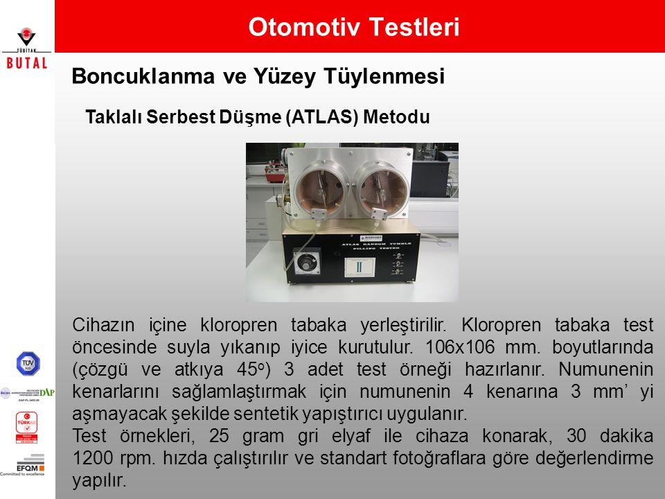 Boncuklanma ve Yüzey Tüylenmesi Otomotiv Testleri Taklalı Serbest Düşme (ATLAS) Metodu Cihazın içine kloropren tabaka yerleştirilir. Kloropren tabaka