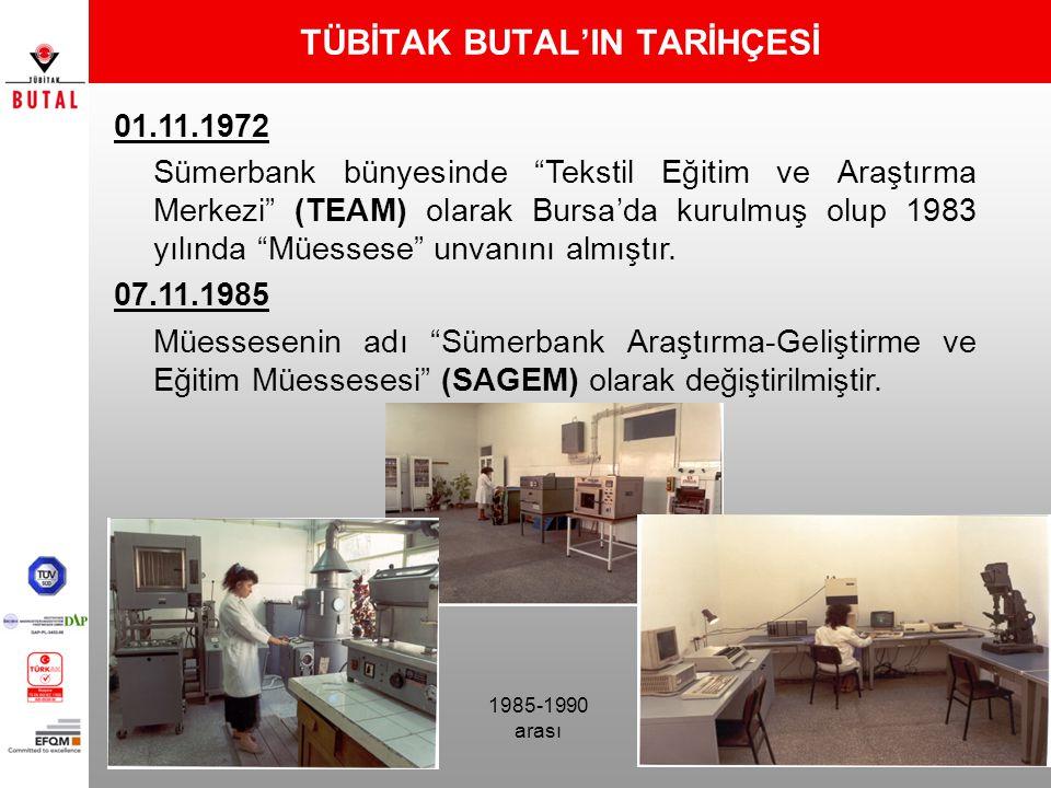 """TÜBİTAK BUTAL'IN TARİHÇESİ 01.11.1972 Sümerbank bünyesinde """"Tekstil Eğitim ve Araştırma Merkezi"""" (TEAM) olarak Bursa'da kurulmuş olup 1983 yılında """"Mü"""