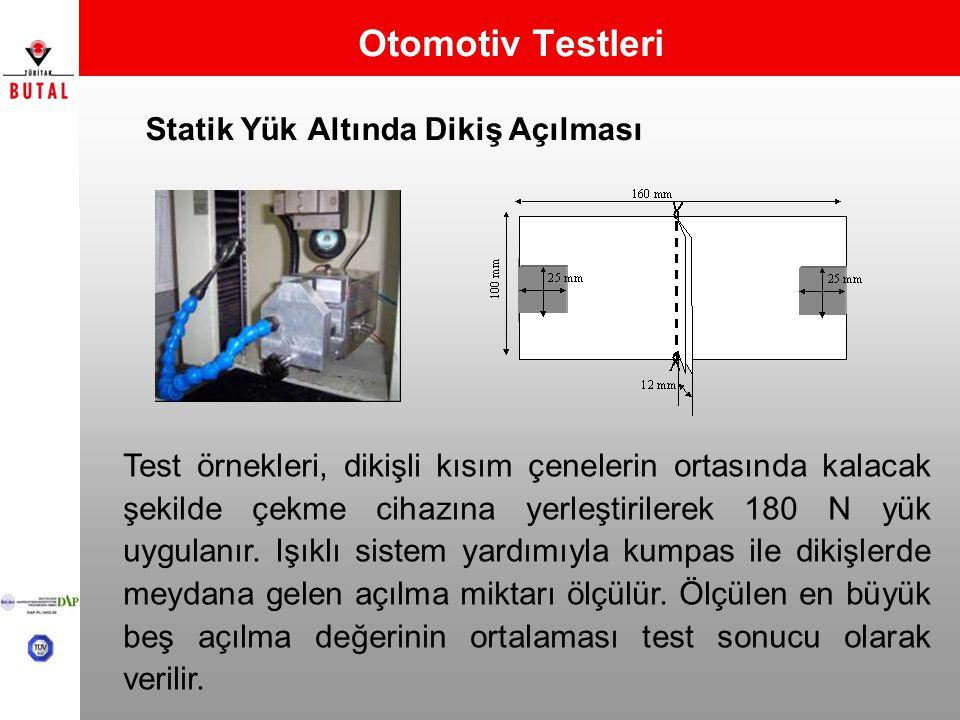 Otomotiv Testleri Statik Yük Altında Dikiş Açılması Test örnekleri, dikişli kısım çenelerin ortasında kalacak şekilde çekme cihazına yerleştirilerek 1