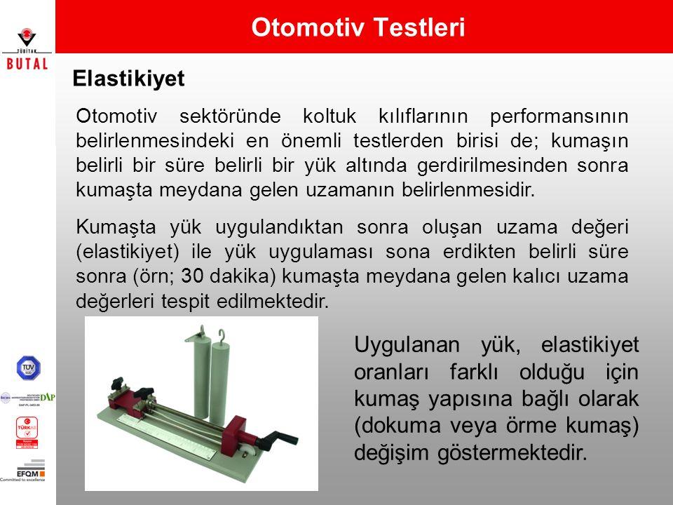 Elastikiyet Otomotiv Testleri Otomotiv sektöründe koltuk kılıflarının performansının belirlenmesindeki en önemli testlerden birisi de; kumaşın belirli