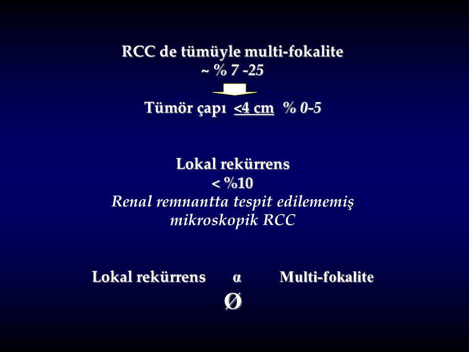 RCC de tümüyle multi-fokalite ~ % 7 -25 Tümör çapı <4 cm % 0-5 Lokal rekürrens < %10 Renal remnantta tespit edilememiş mikroskopik RCC Lokal rekürrens