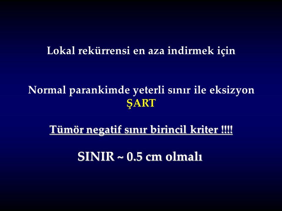Lokal rekürrensi en aza indirmek için Normal parankimde yeterli sınır ile eksizyon ŞART Tümör negatif sınır birincil kriter !!!! SINIR ~ 0.5 cm olmalı