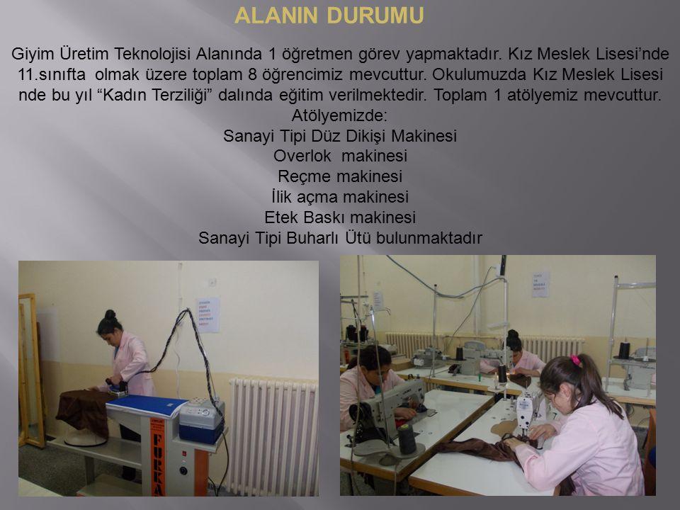 ALANIN DURUMU Giyim Üretim Teknolojisi Alanında 1 öğretmen görev yapmaktadır.