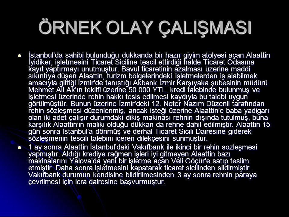 ÖRNEK OLAY ÇALIŞMASI İstanbul'da sahibi bulunduğu dükkanda bir hazır giyim atölyesi açan Alaattin İyidiker, işletmesini Ticaret Siciline tescil ettird