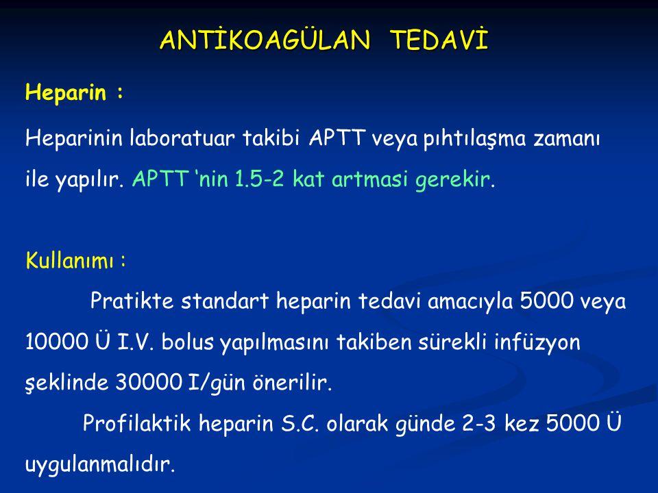 Heparinin laboratuar takibi APTT veya pıhtılaşma zamanı ile yapılır. APTT 'nin 1.5-2 kat artmasi gerekir. Kullanımı : Pratikte standart heparin tedavi