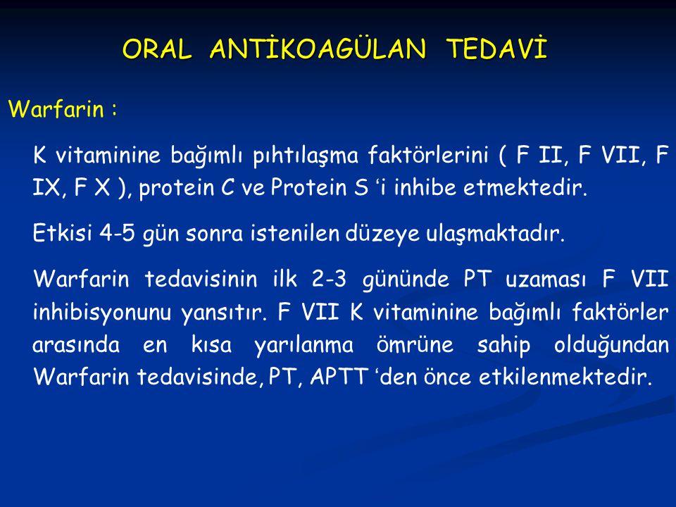 ORAL ANTİKOAGÜLAN TEDAVİ Warfarin : K vitaminine bağımlı pıhtılaşma fakt ö rlerini ( F II, F VII, F IX, F X ), protein C ve Protein S ' i inhibe etmek