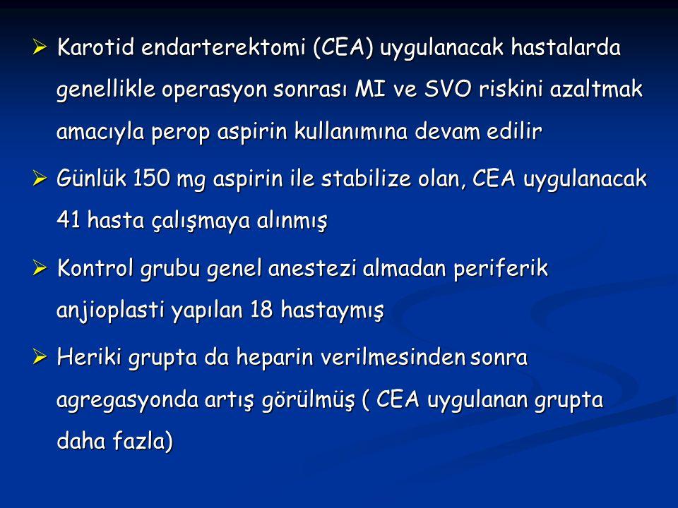  Karotid endarterektomi (CEA) uygulanacak hastalarda genellikle operasyon sonrası MI ve SVO riskini azaltmak amacıyla perop aspirin kullanımına devam