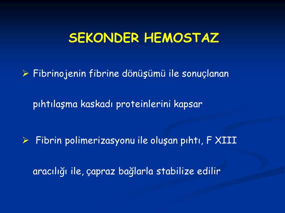 SEKONDER HEMOSTAZ  Fibrinojenin fibrine d ö n ü ş ü m ü ile sonu ç lanan pıhtılaşma kaskadı proteinlerini kapsar  Fibrin polimerizasyonu ile oluşan