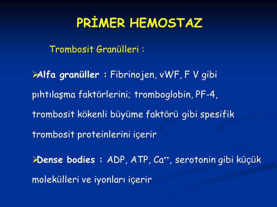 PRİMER HEMOSTAZ Trombosit Gran ü lleri :  Alfa gran ü ller : Fibrinojen, vWF, F V gibi pıhtılaşma fakt ö rlerini; tromboglobin, PF-4, trombosit k ö k