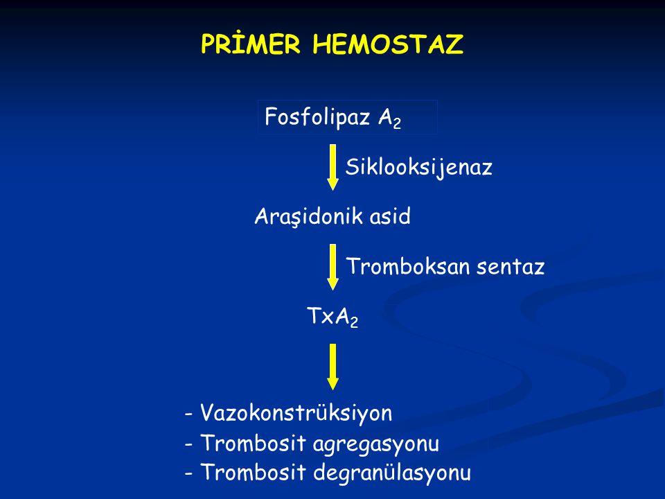 PRİMER HEMOSTAZ Fosfolipaz A 2 Siklooksijenaz TxA 2 - Vazokonstr ü ksiyon - Trombosit agregasyonu - Trombosit degran ü lasyonu Araşidonik asid Trombok