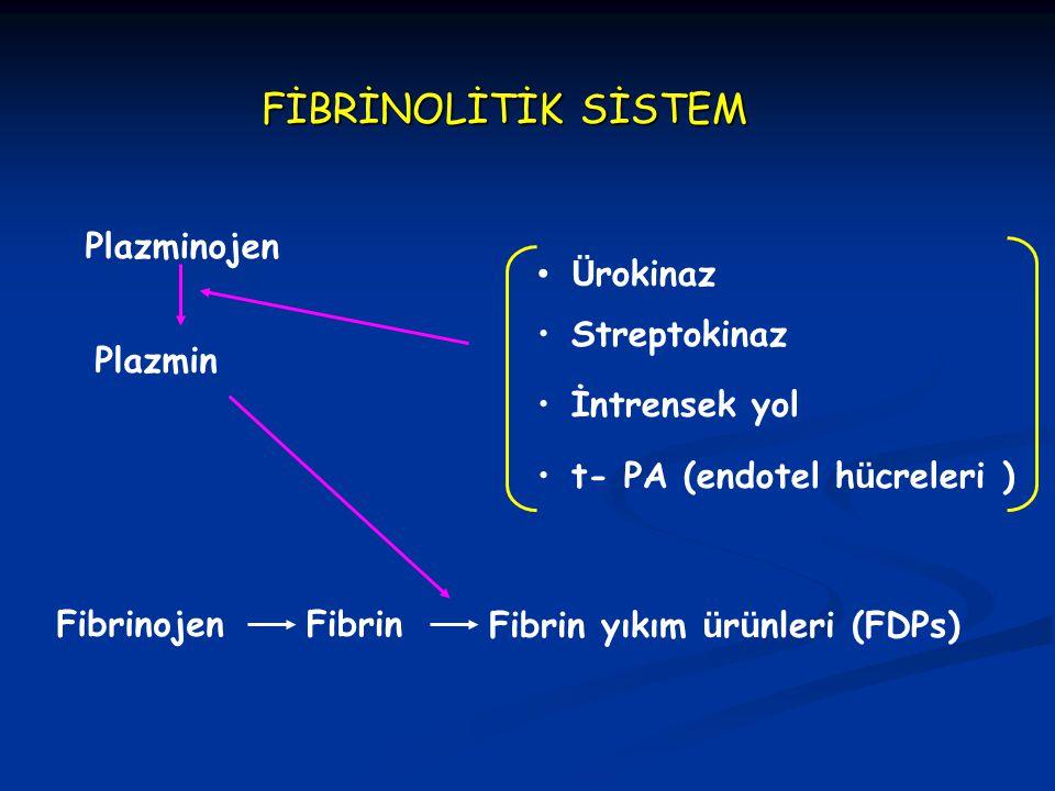 FİBRİNOLİTİK SİSTEM Plazminojen Plazmin FibrinojenFibrinFibrin yıkım ü r ü nleri (FDPs) Ü rokinaz İntrensek yol t- PA (endotel h ü creleri ) Streptoki