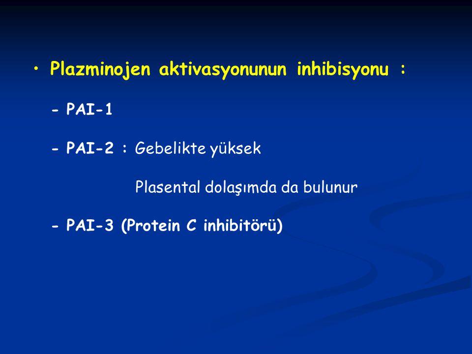 Plazminojen aktivasyonunun inhibisyonu : - PAI-1 - PAI-2 : Gebelikte y ü ksek Plasental dolaşımda da bulunur - PAI-3 (Protein C inhibit ö r ü )