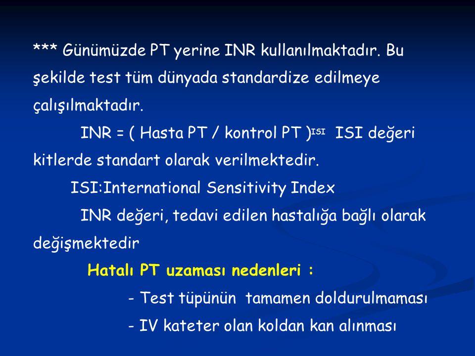 *** Günümüzde PT yerine INR kullanılmaktadır. Bu şekilde test tüm dünyada standardize edilmeye çalışılmaktadır. INR = ( Hasta PT / kontrol PT ) ISI IS